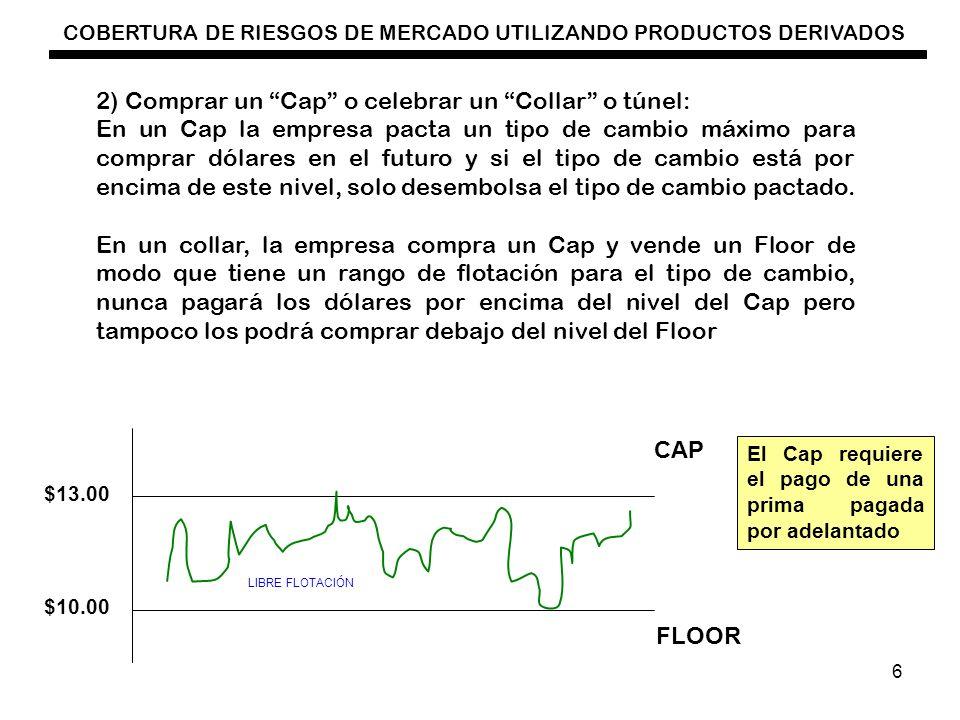 COBERTURA DE RIESGOS DE MERCADO UTILIZANDO PRODUCTOS DERIVADOS 7 2) Un Exportador Se dice que tiene una Posición Larga Corre el riesgo de una apreciación del tipo de cambio.