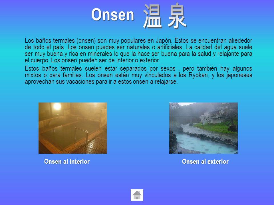 Los baños termales (onsen) son muy populares en Japón. Estos se encuentran alrededor de todo el país. Los onsen puedes ser naturales o artificiales. L