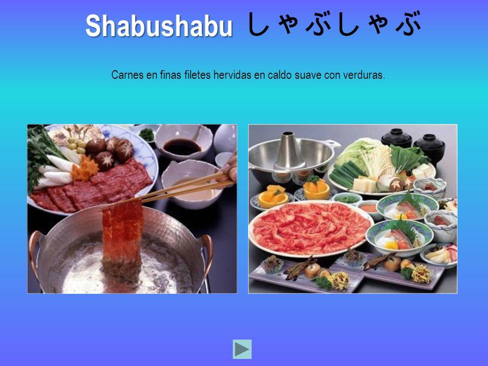 Carnes en finas filetes hervidas en caldo suave con verduras. Shabushabu