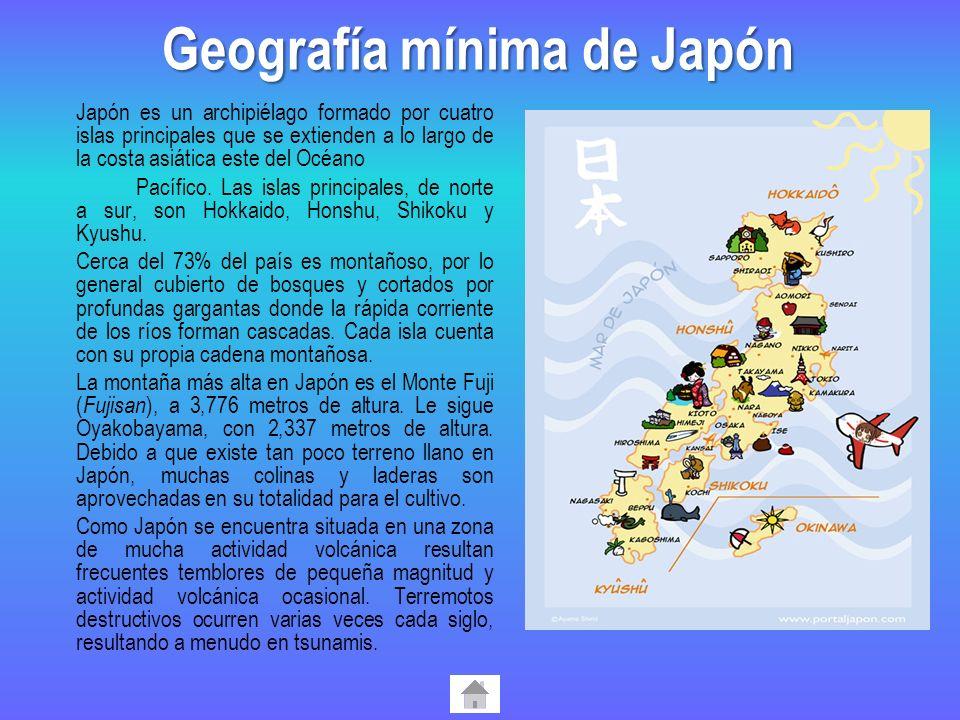 Japón es un archipiélago formado por cuatro islas principales que se extienden a lo largo de la costa asiática este del Océano Pacífico. Las islas pri