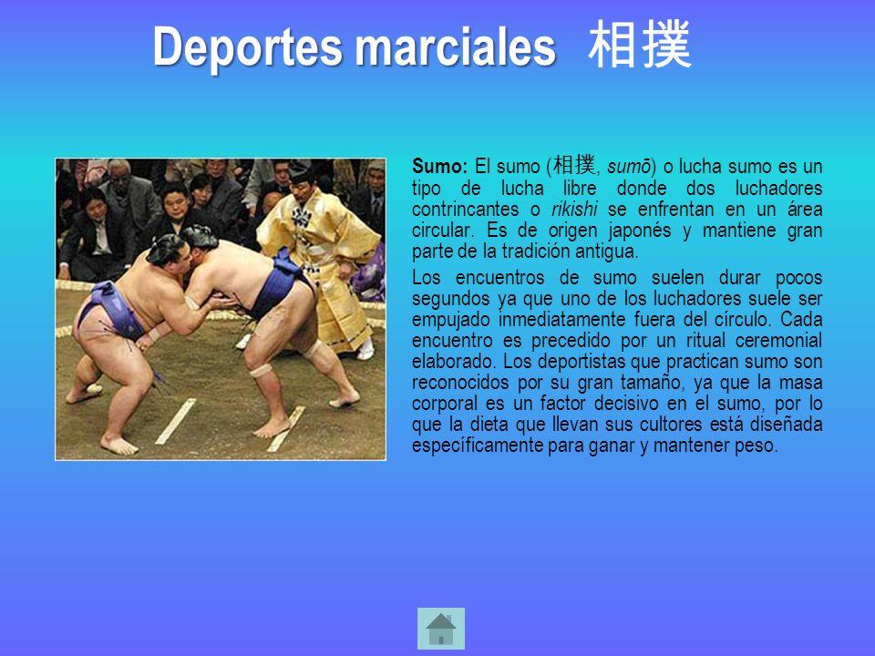 Sumo: El sumo (, sumō ) o lucha sumo es un tipo de lucha libre donde dos luchadores contrincantes o rikishi se enfrentan en un área circular. Es de or