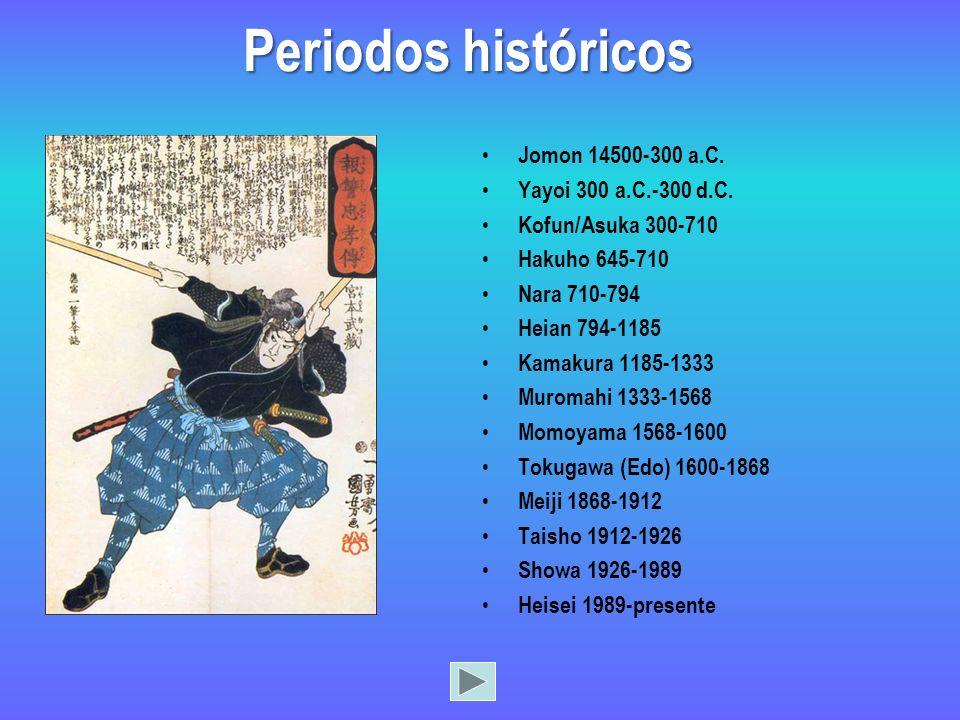 Jomon 14500-300 a.C. Yayoi 300 a.C.-300 d.C. Kofun/Asuka 300-710 Hakuho 645-710 Nara 710-794 Heian 794-1185 Kamakura 1185-1333 Muromahi 1333-1568 Momo
