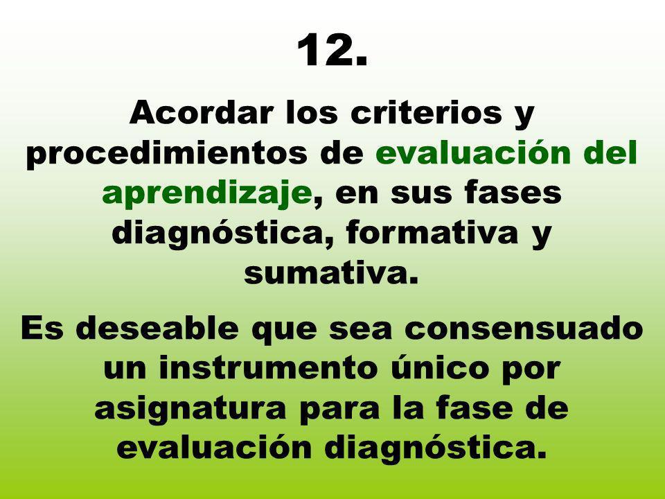 12. Acordar los criterios y procedimientos de evaluación del aprendizaje, en sus fases diagnóstica, formativa y sumativa. Es deseable que sea consensu