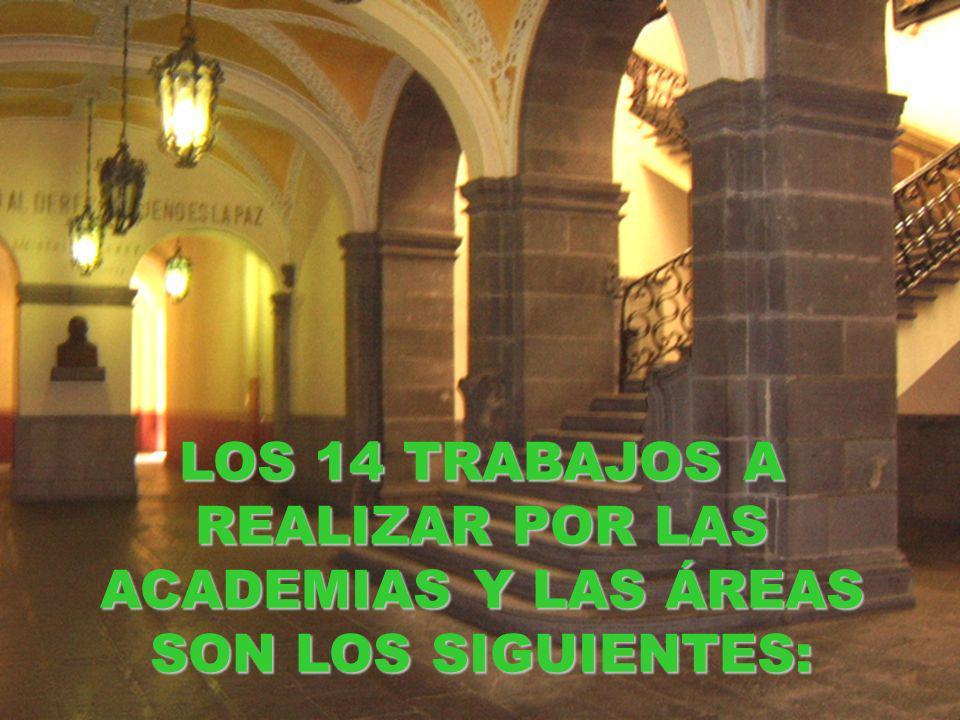LOS 14 TRABAJOS A REALIZAR POR LAS ACADEMIAS Y LAS ÁREAS SON LOS SIGUIENTES: