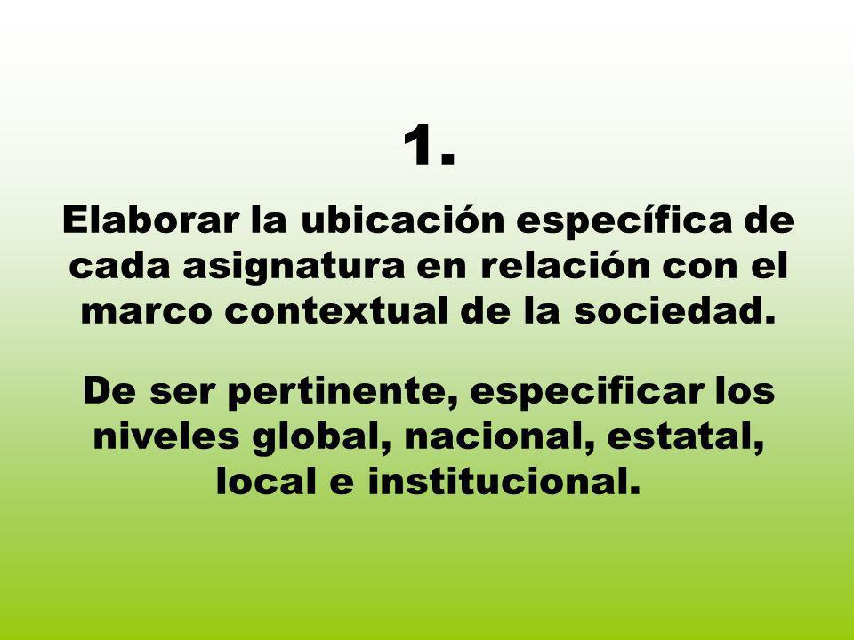 1. Elaborar la ubicación específica de cada asignatura en relación con el marco contextual de la sociedad. De ser pertinente, especificar los niveles