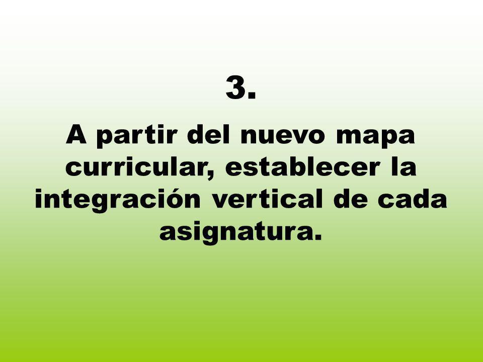 3. A partir del nuevo mapa curricular, establecer la integración vertical de cada asignatura.