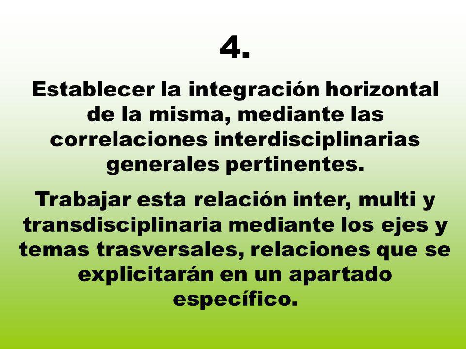 4. Establecer la integración horizontal de la misma, mediante las correlaciones interdisciplinarias generales pertinentes. Trabajar esta relación inte