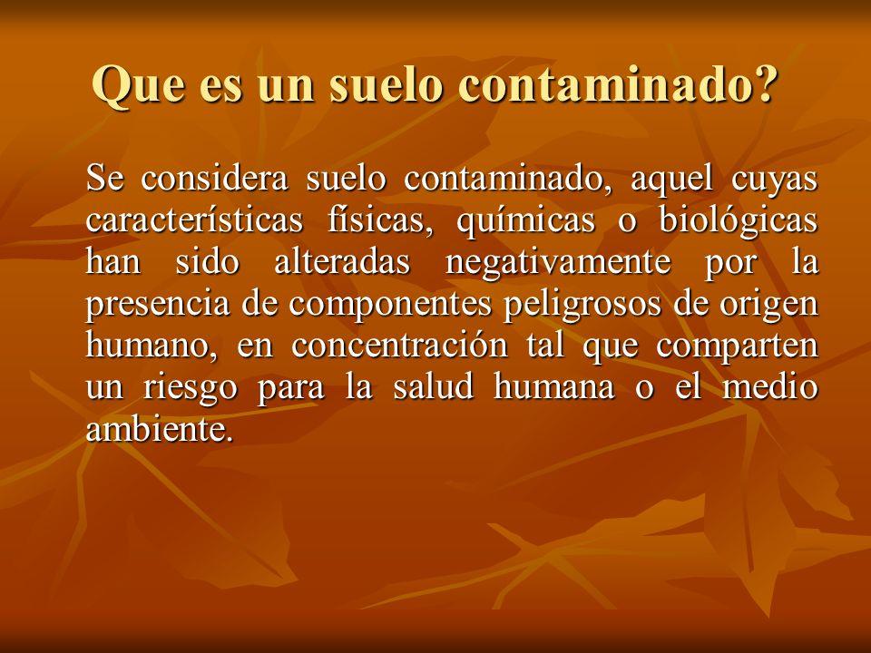 Que es un suelo contaminado? Se considera suelo contaminado, aquel cuyas características físicas, químicas o biológicas han sido alteradas negativamen