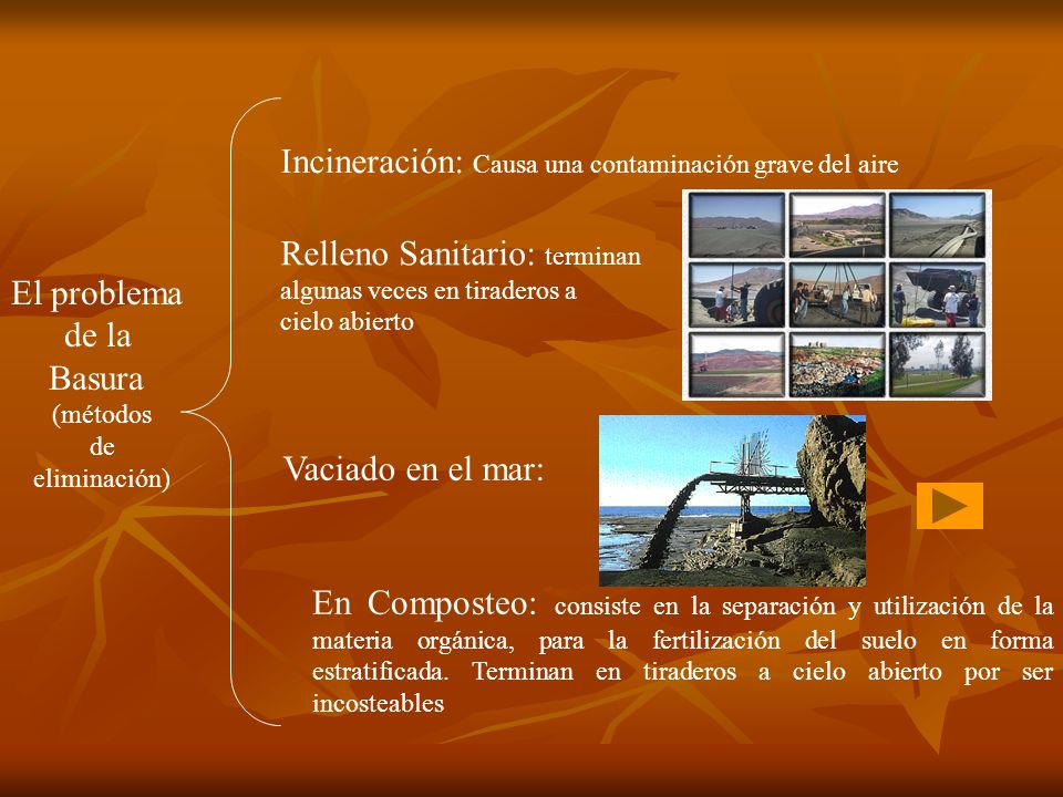 El problema de la Basura (métodos de eliminación) Incineración: Causa una contaminación grave del aire Relleno Sanitario: terminan algunas veces en ti