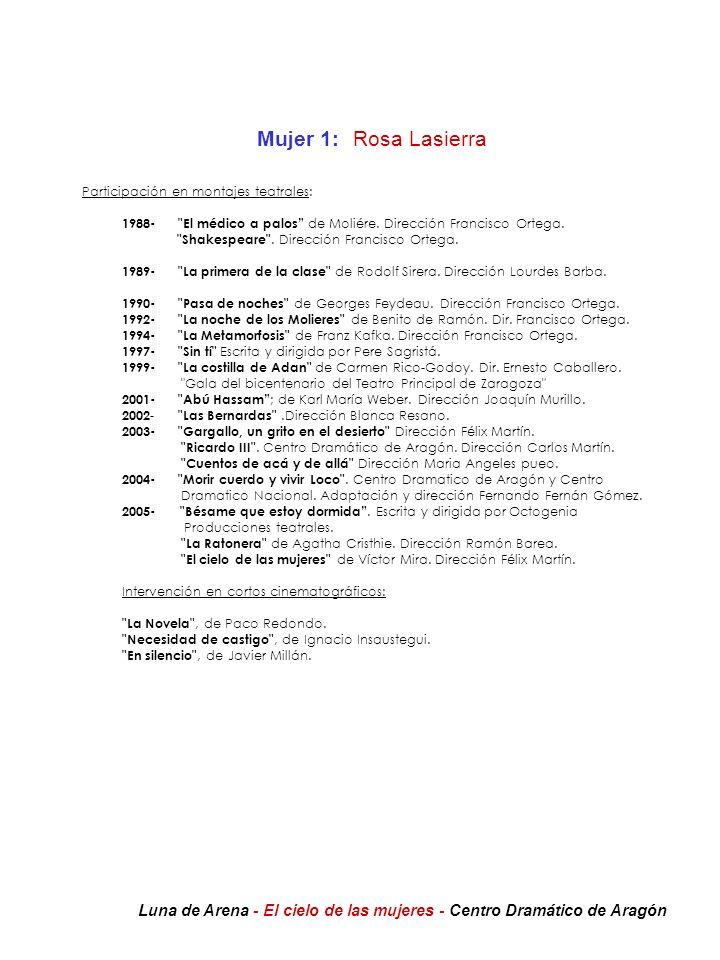 Mujer 1:Rosa Lasierra Participación en montajes teatrales: 1988-