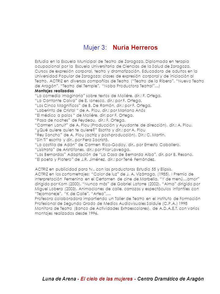 Mujer 3: Nuria Herreros Estudia en la Escuela Municipal de Teatro de Zaragoza. Diplomada en terapia ocupacional por la Escuela Universitaria de Cienci