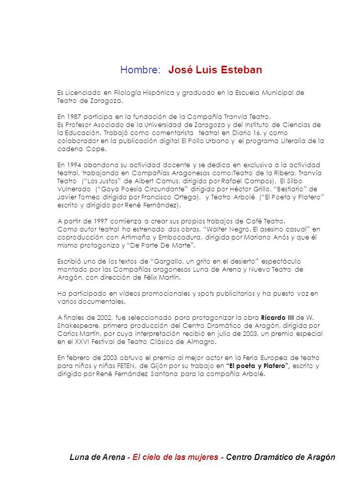 Hombre:José Luis Esteban Es Licenciado en Filología Hispánica y graduado en la Escuela Municipal de Teatro de Zaragoza. En 1987 participa en la fundac