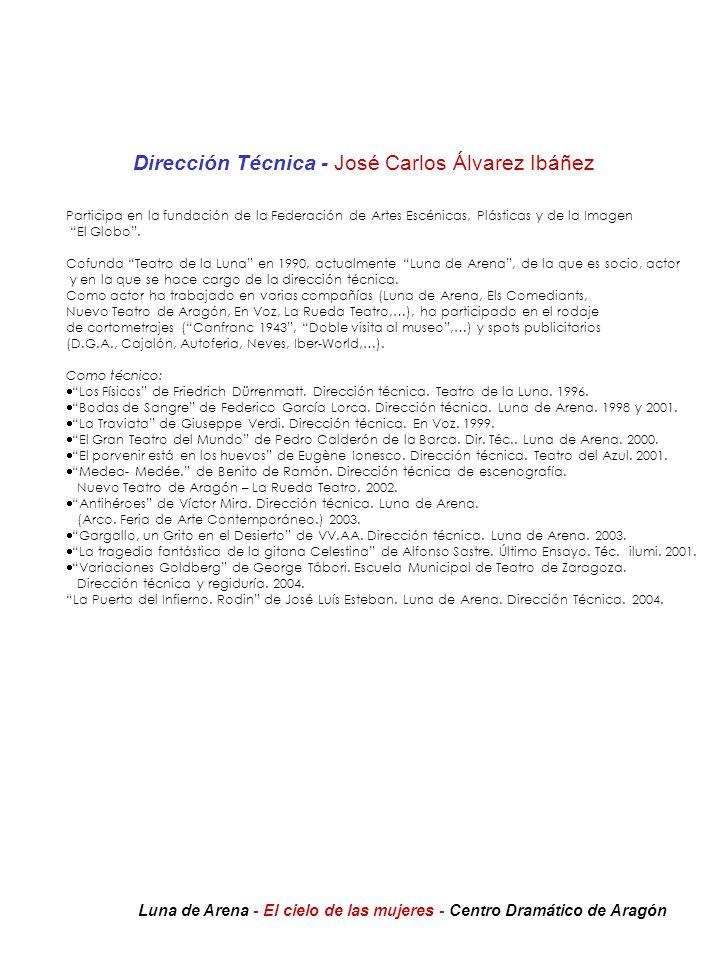 Dirección Técnica - José Carlos Álvarez Ibáñez Participa en la fundación de la Federación de Artes Escénicas, Plásticas y de la Imagen El Globo. Cofun
