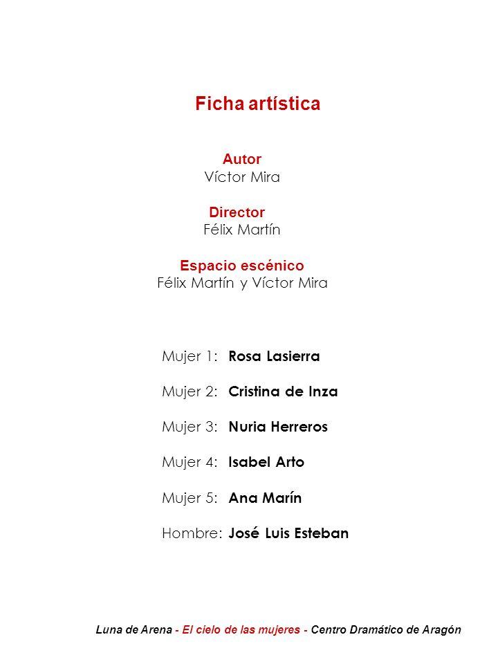 Ficha artística Autor Víctor Mira Director Félix Martín Espacio escénico Félix Martín y Víctor Mira Mujer 1: Rosa Lasierra Mujer 2: Cristina de Inza M