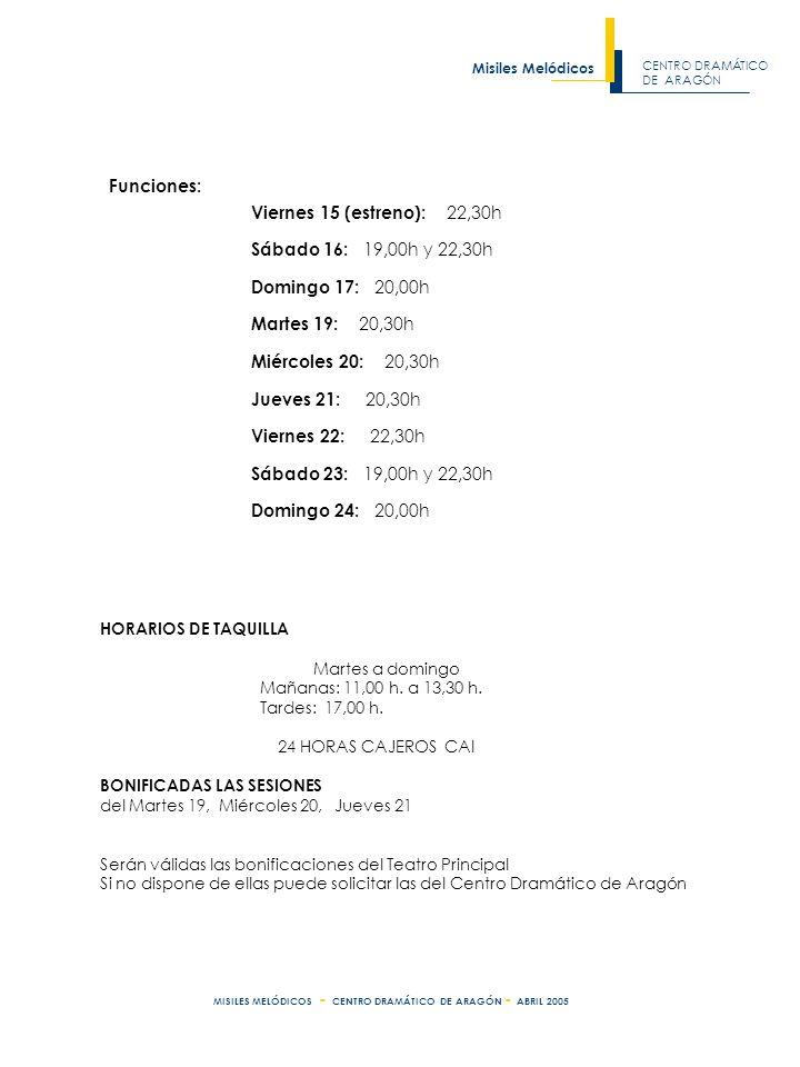 CENTRO DRAMÁTICO DE ARAGÓN Misiles Melódicos MISILES MELÓDICOS - CENTRO DRAMÁTICO DE ARAGÓN - ABRIL 2005 HORARIOS DE TAQUILLA Martes a domingo Mañanas: 11,00 h.