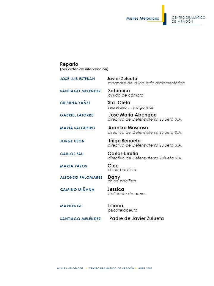 CENTRO DRAMÁTICO DE ARAGÓN Misiles Melódicos MISILES MELÓDICOS - CENTRO DRAMÁTICO DE ARAGÓN - ABRIL 2005 Reparto (por orden de intervención) JOSÉ LUIS ESTEBAN Javier Zulueta magnate de la industria armamentística SANTIAGO MELÉNDEZ Saturnino ayuda de cámara CRISTINA YÁÑEZ Sta.