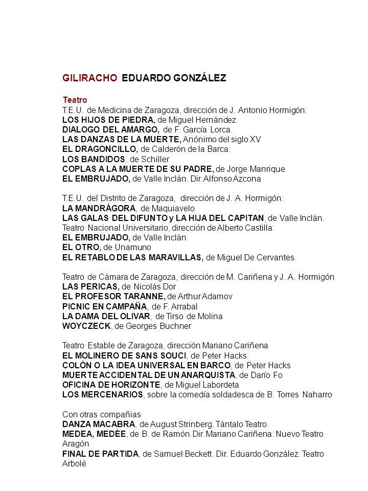 GILIRACHO EDUARDO GONZÁLEZ Teatro T.E.U. de Medicina de Zaragoza, dirección de J. Antonio Hormigón: LOS HIJOS DE PIEDRA, de Miguel Hernández. DIALOGO