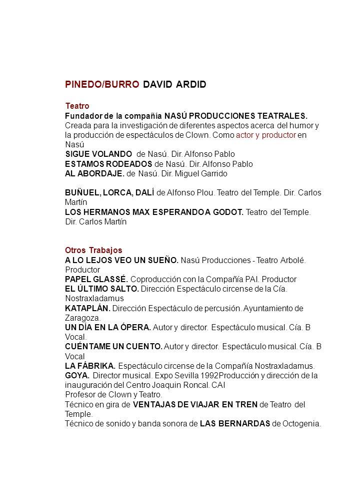 PINEDO/BURRO DAVID ARDID TeatroAVID ARDID. Pinedo / Burro Fundador de la compañía NASÚ PRODUCCIONES TEATRALES. Creada para la investigación de diferen
