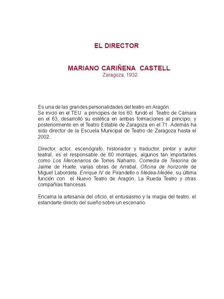 EL DIRECTOR Es una de las grandes personalidades del teatro en Aragón. Se inició en el TEU a principios de los 60, fundó el Teatro de Cámara en el 63,
