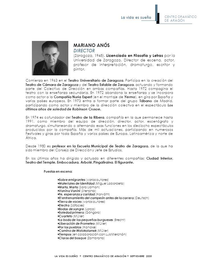 FRANCISCO FRAGUAS SOLDADO Y CRIADO Titulado en la Escuela Municipal de Teatro de Zaragoza.