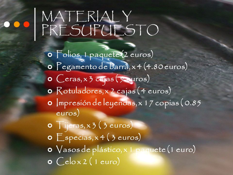 MATERIAL Y PRESUPUESTO Folios, 1 paquete (2 euros) Pegamento de barra, x 4 (4.80 euros) Ceras, x 3 cajas ( 9 euros) Rotuladores, x 2 cajas ( 4 euros)