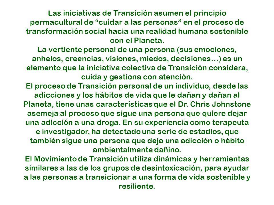 Las iniciativas de Transición asumen el principio permacultural de cuidar a las personas en el proceso de transformación social hacia una realidad humana sostenible con el Planeta.