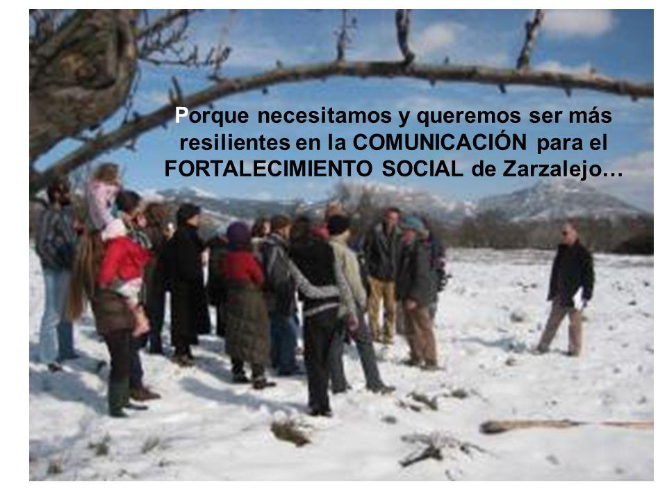 Porque necesitamos y queremos ser más resilientes en la COMUNICACIÓN para el FORTALECIMIENTO SOCIAL de Zarzalejo…