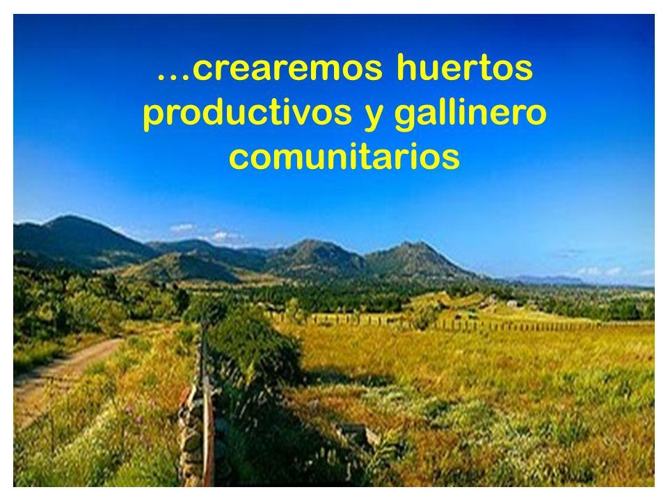 …crearemos huertos productivos y gallinero comunitarios