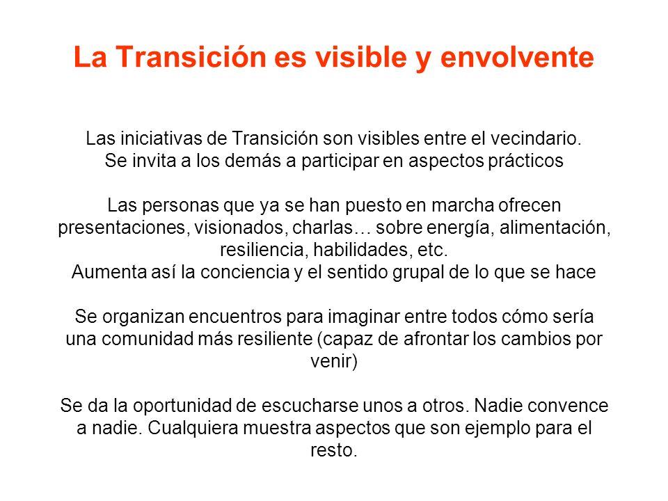 La Transición es visible y envolvente Las iniciativas de Transición son visibles entre el vecindario. Se invita a los demás a participar en aspectos p