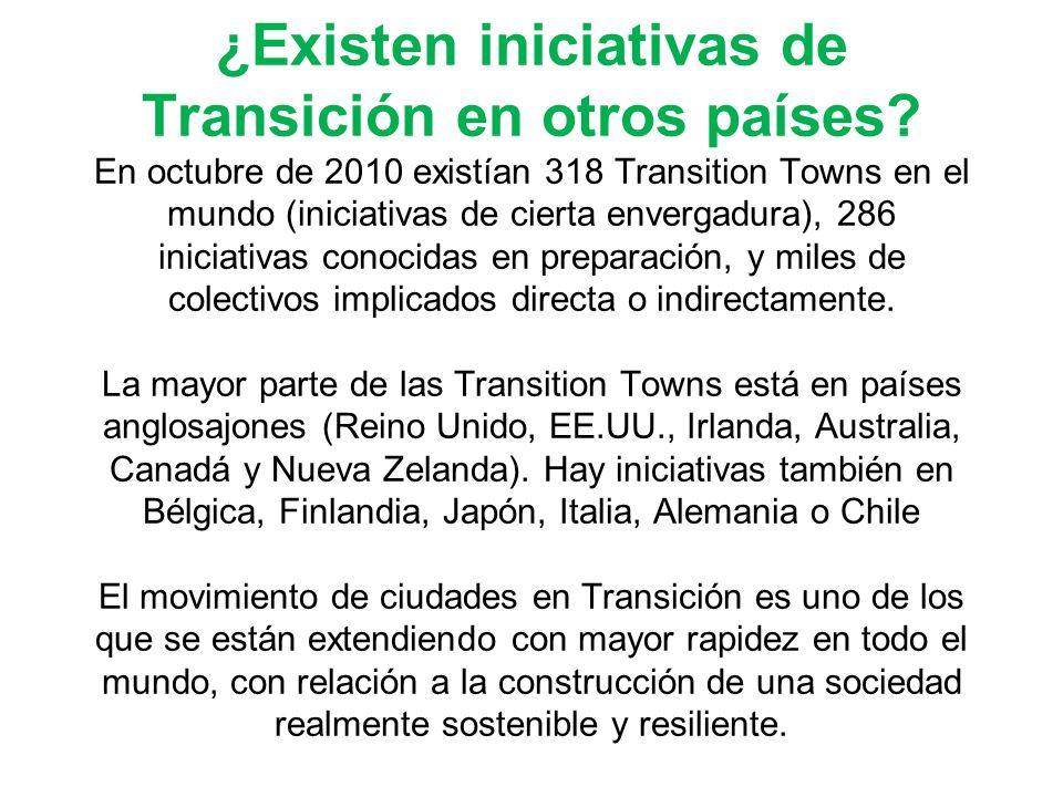 ¿Existen iniciativas de Transición en otros países? En octubre de 2010 existían 318 Transition Towns en el mundo (iniciativas de cierta envergadura),