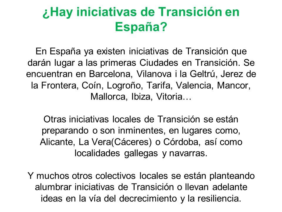 ¿Hay iniciativas de Transición en España? En España ya existen iniciativas de Transición que darán lugar a las primeras Ciudades en Transición. Se enc