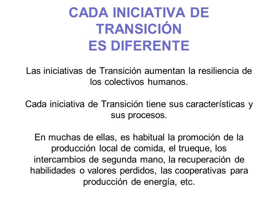 CADA INICIATIVA DE TRANSICIÓN ES DIFERENTE Las iniciativas de Transición aumentan la resiliencia de los colectivos humanos. Cada iniciativa de Transic