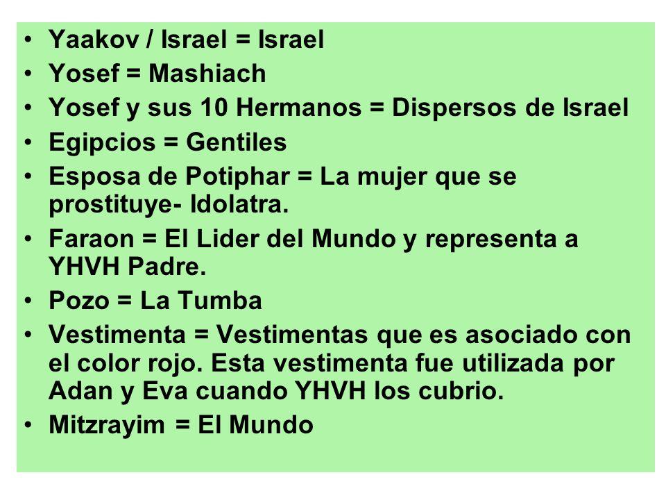 Yaakov / Israel = Israel Yosef = Mashiach Yosef y sus 10 Hermanos = Dispersos de Israel Egipcios = Gentiles Esposa de Potiphar = La mujer que se prost