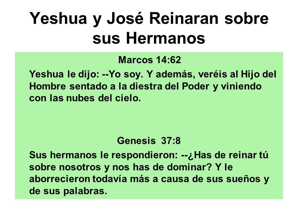 Yeshua y José Reinaran sobre sus Hermanos Marcos 14:62 Yeshua le dijo: --Yo soy. Y además, veréis al Hijo del Hombre sentado a la diestra del Poder y