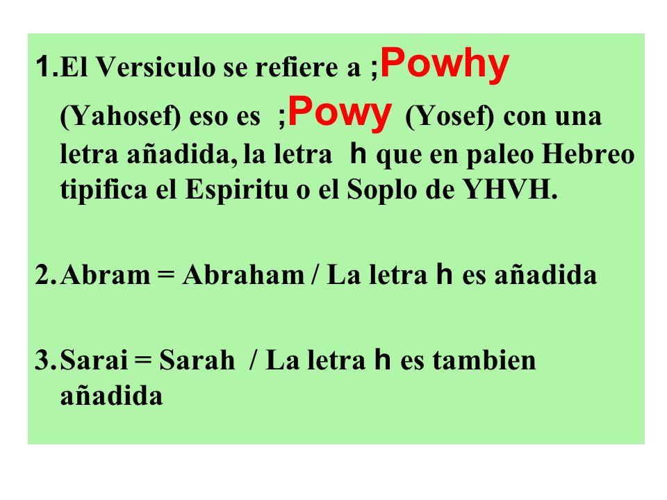1. El Versiculo se refiere a ; Powhy (Yahosef) eso es ; Powy (Yosef) con una letra añadida, la letra h que en paleo Hebreo tipifica el Espiritu o el S