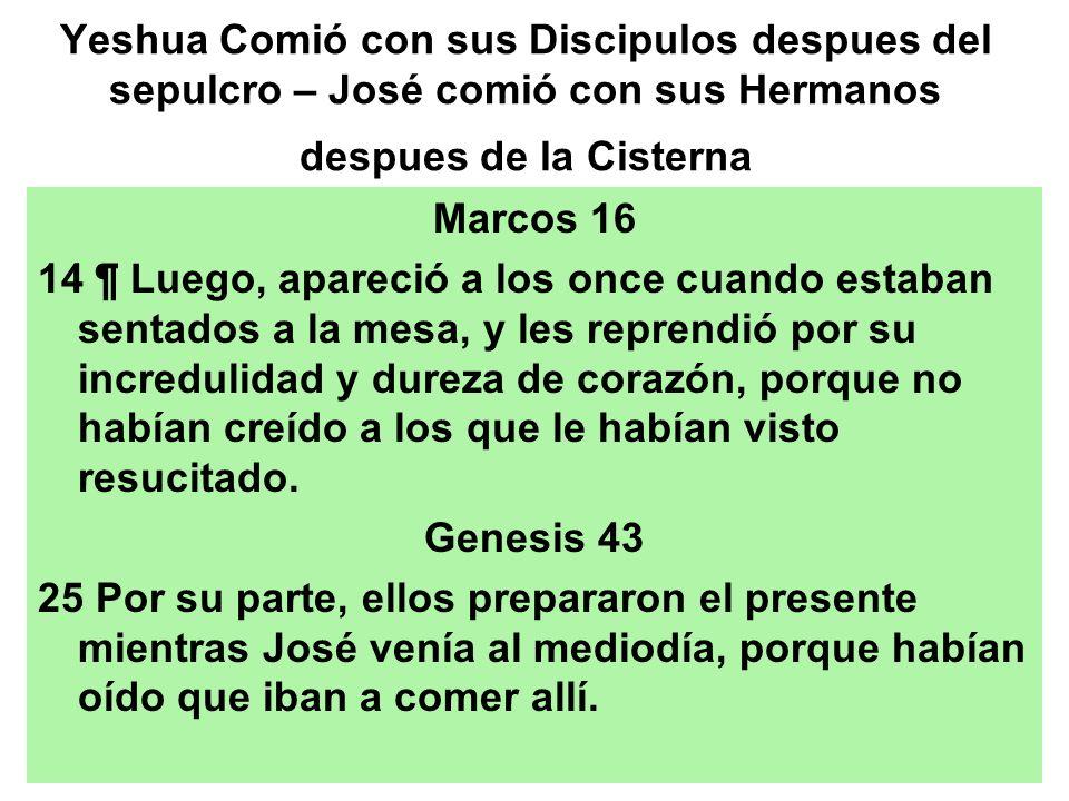 Yeshua Comió con sus Discipulos despues del sepulcro – José comió con sus Hermanos despues de la Cisterna Marcos 16 14 ¶ Luego, apareció a los once cu