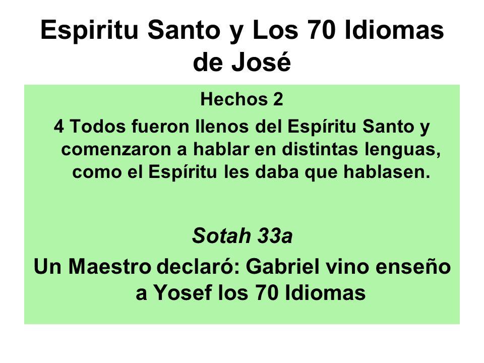 Espiritu Santo y Los 70 Idiomas de José Hechos 2 4 Todos fueron llenos del Espíritu Santo y comenzaron a hablar en distintas lenguas, como el Espíritu