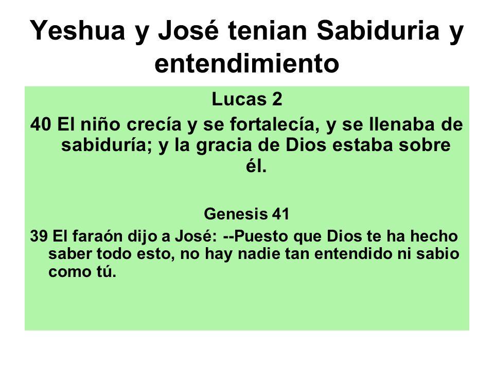 Yeshua y José tenian Sabiduria y entendimiento Lucas 2 40 El niño crecía y se fortalecía, y se llenaba de sabiduría; y la gracia de Dios estaba sobre