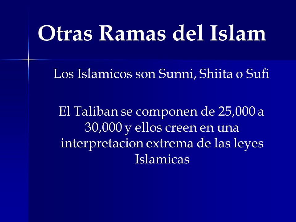 Otras Ramas del Islam Los Islamicos son Sunni, Shiita o Sufi El Taliban se componen de 25,000 a 30,000 y ellos creen en una interpretacion extrema de