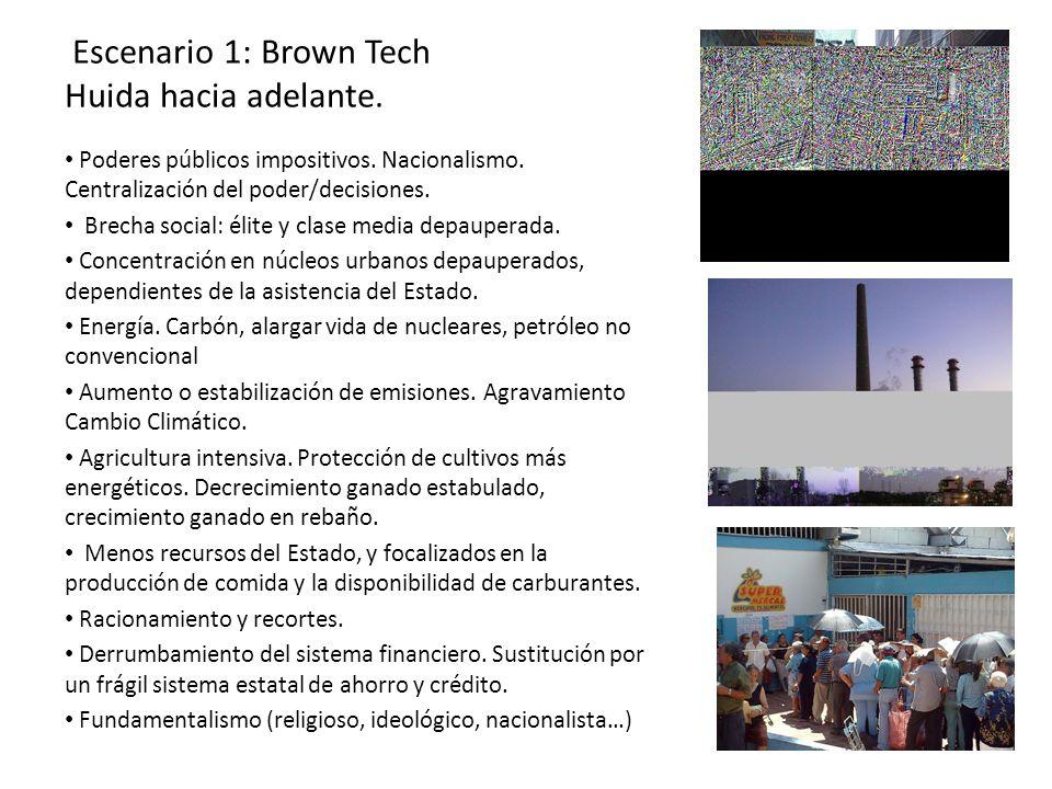 Escenario 1: Brown Tech Huida hacia adelante. Poderes públicos impositivos. Nacionalismo. Centralización del poder/decisiones. Brecha social: élite y
