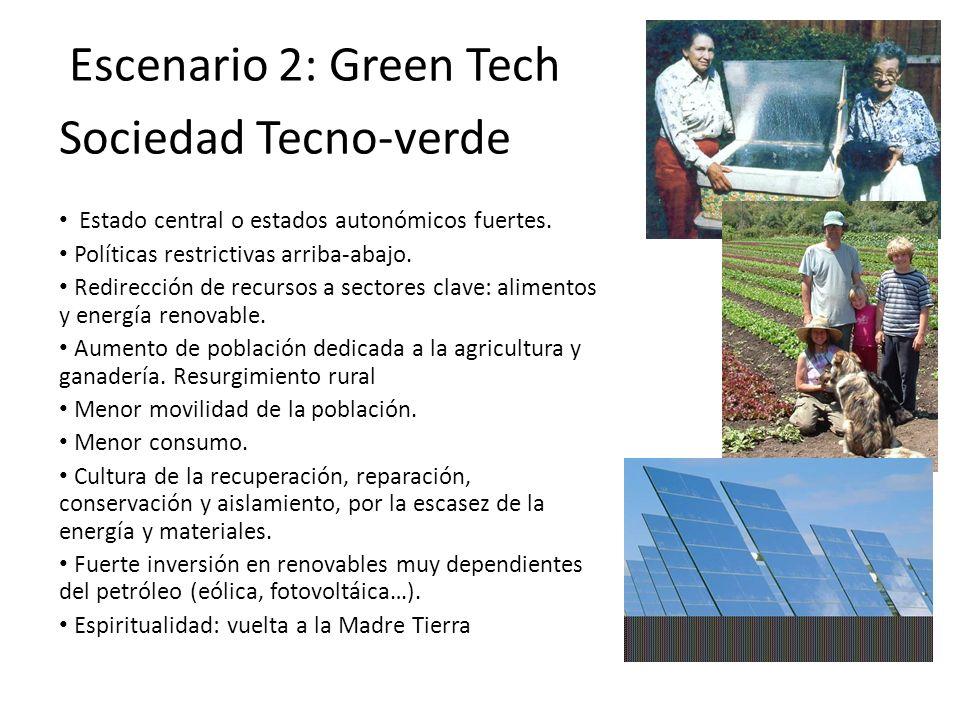 Escenario 2: Green Tech Sociedad Tecno-verde Estado central o estados autonómicos fuertes. Políticas restrictivas arriba-abajo. Redirección de recurso