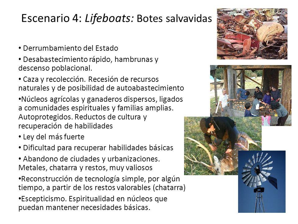 Escenario 4: Lifeboats: Botes salvavidas Derrumbamiento del Estado Desabastecimiento rápido, hambrunas y descenso poblacional. Caza y recolección. Rec