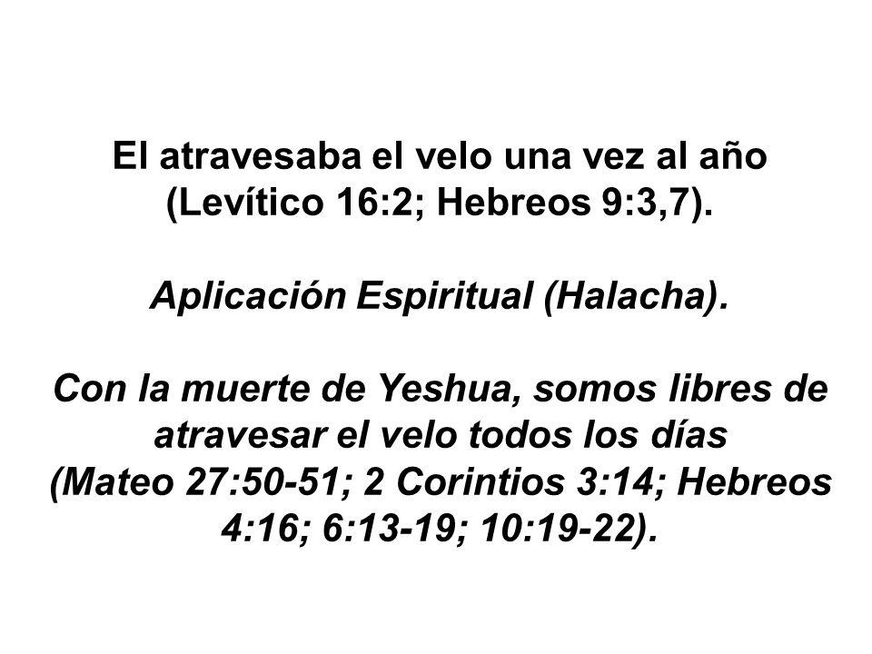 El atravesaba el velo una vez al año (Levítico 16:2; Hebreos 9:3,7). Aplicación Espiritual (Halacha). Con la muerte de Yeshua, somos libres de atraves