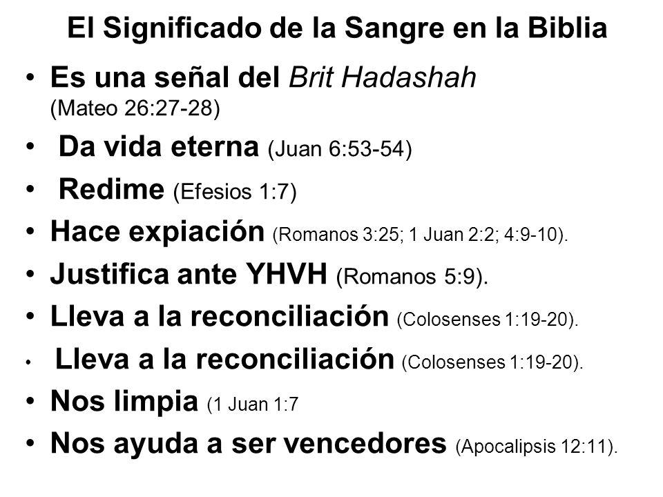 El Significado de la Sangre en la Biblia Es una señal del Brit Hadashah (Mateo 26:27-28) Da vida eterna (Juan 6:53-54) Redime (Efesios 1:7) Hace expia