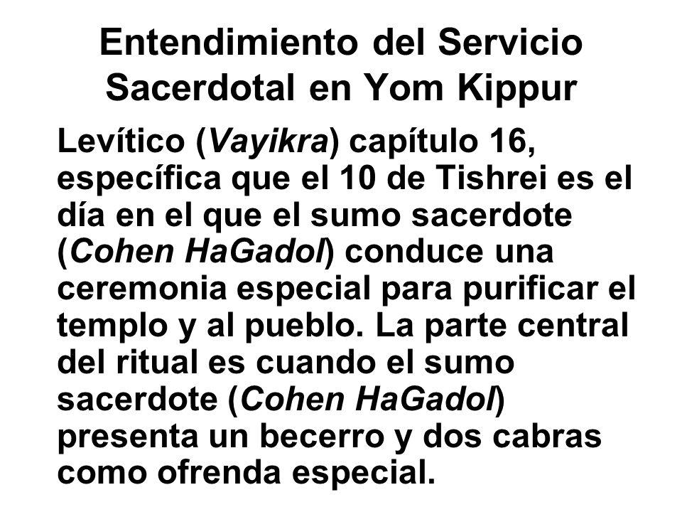 Entendimiento del Servicio Sacerdotal en Yom Kippur Levítico (Vayikra) capítulo 16, específica que el 10 de Tishrei es el día en el que el sumo sacerd