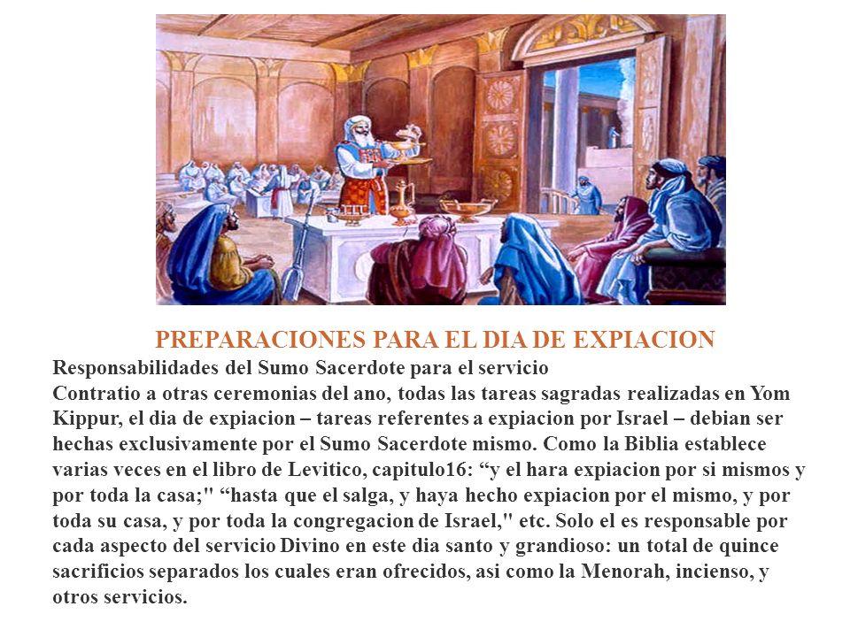 PREPARACIONES PARA EL DIA DE EXPIACION Responsabilidades del Sumo Sacerdote para el servicio Contratio a otras ceremonias del ano, todas las tareas sa