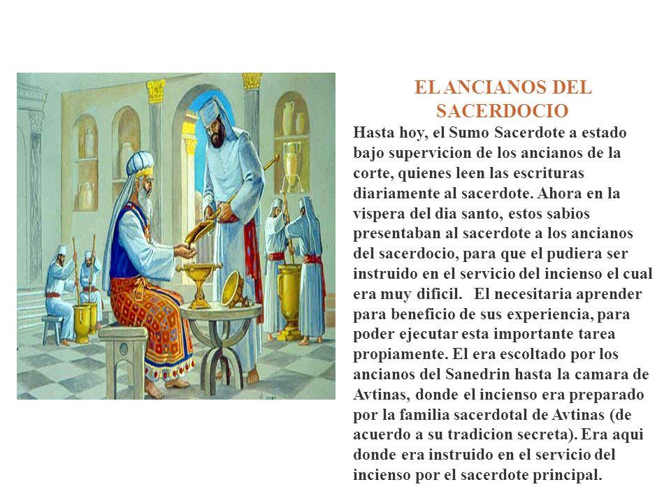 EL ANCIANOS DEL SACERDOCIO Hasta hoy, el Sumo Sacerdote a estado bajo supervicion de los ancianos de la corte, quienes leen las escrituras diariamente