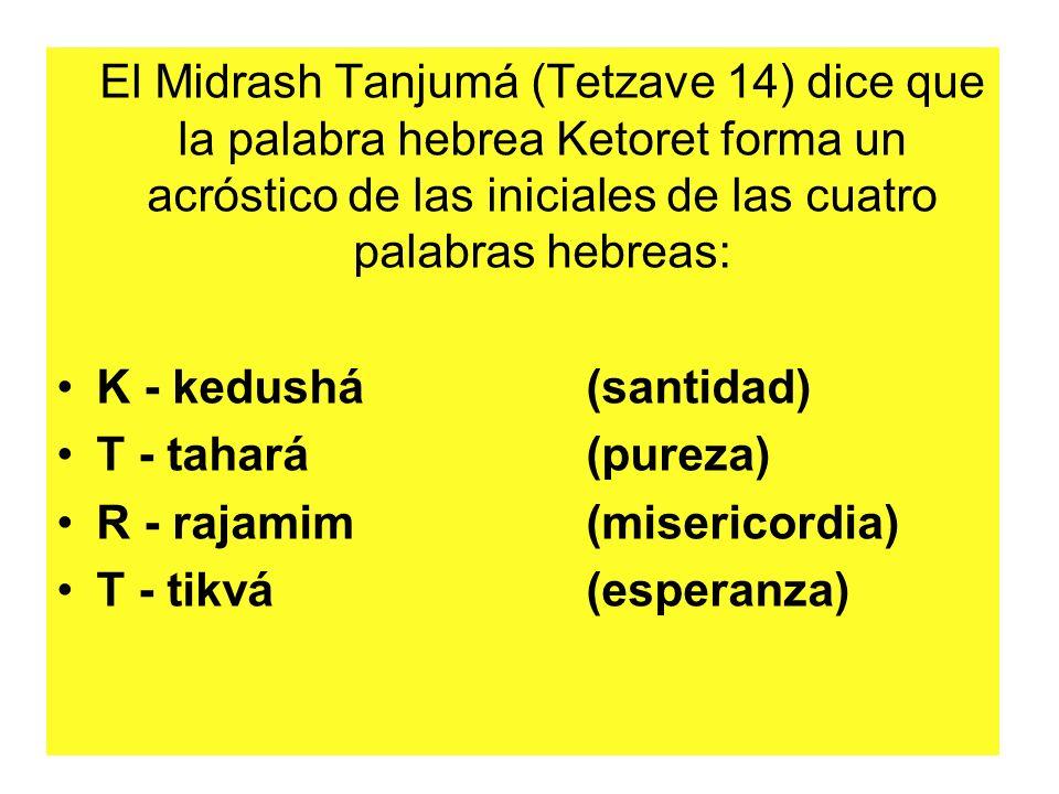 El Midrash Tanjumá (Tetzave 14) dice que la palabra hebrea Ketoret forma un acróstico de las iniciales de las cuatro palabras hebreas: K - kedushá (santidad) T - tahará (pureza) R - rajamim (misericordia) T - tikvá (esperanza)