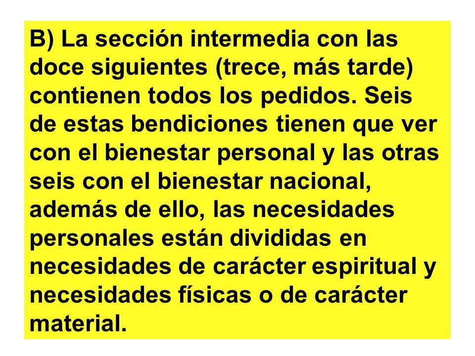 B) La sección intermedia con las doce siguientes (trece, más tarde) contienen todos los pedidos. Seis de estas bendiciones tienen que ver con el biene