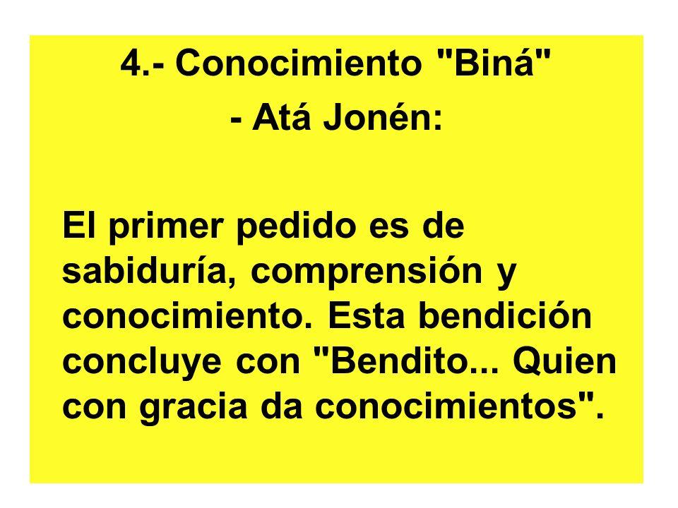 4.- Conocimiento Biná - Atá Jonén: El primer pedido es de sabiduría, comprensión y conocimiento.